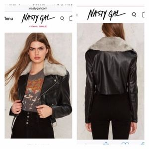 Nasty Gal ride it out vegan leather moto jacket